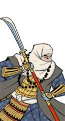 Hrdinský bojový mnich s naginatou